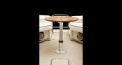 Teak Articulating Table - Up Position Open