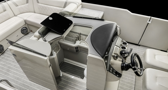 Harris V270 Pontoon Boat Unique Center Console Design